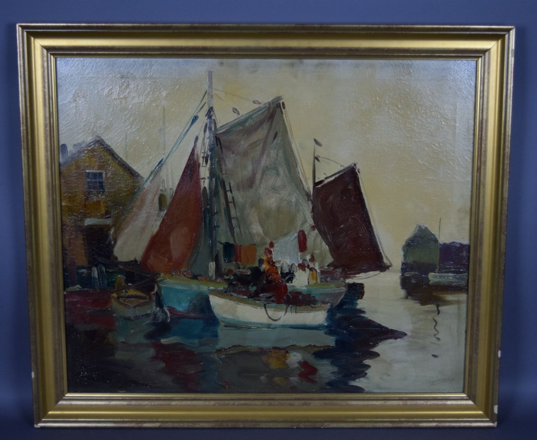 Anthony Thieme. Large Dock scene painting. Oil on