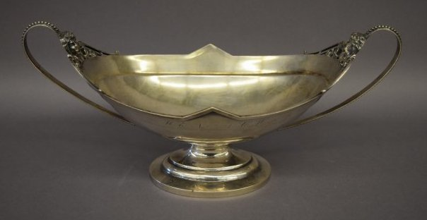 Wood and Hughes Coin Silver two handled centerpiece