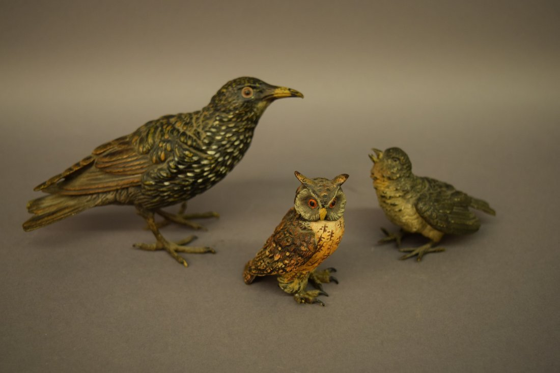 Three Vienna Polychromed decorated  Bronze bird
