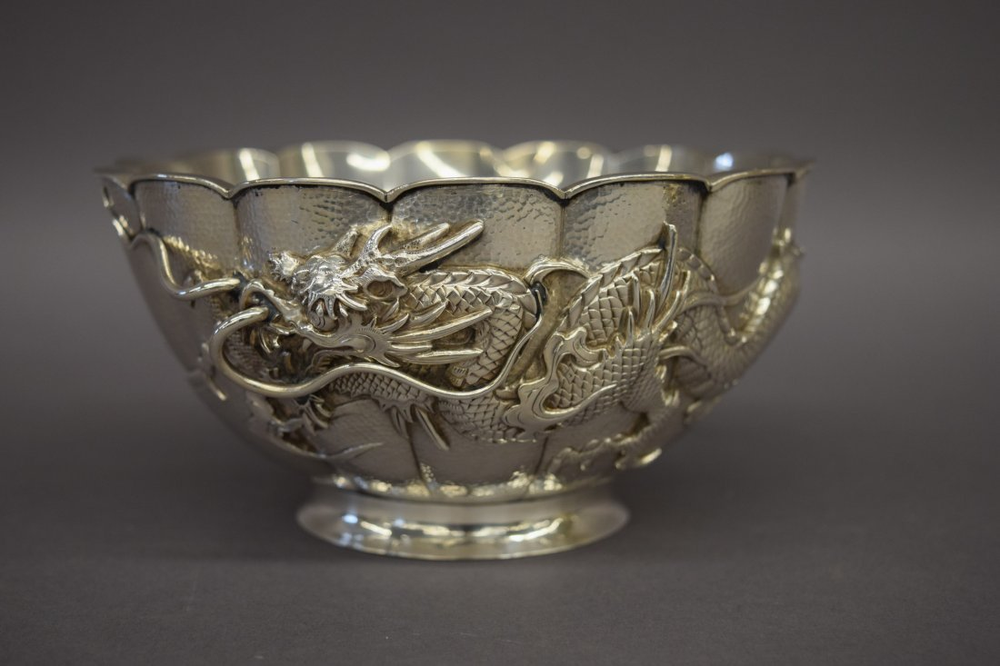Japanese export silver bowl lobed shape with raised