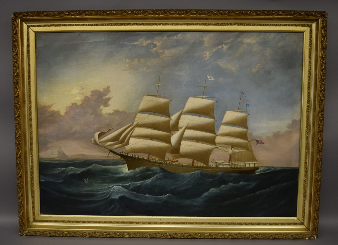 Charles J. Waldron large painting of the Clipper Ship