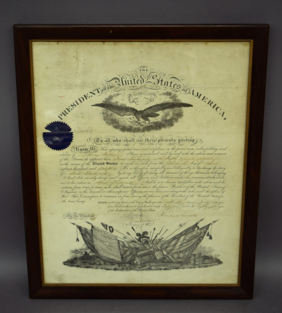 Abraham Lincoln Military appointment for 1st Lt. Henry