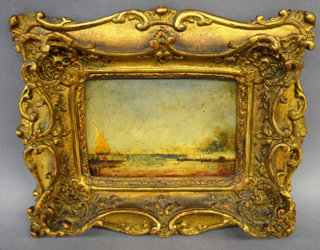 Small Venetian Scene Oil painting on panel sgined with