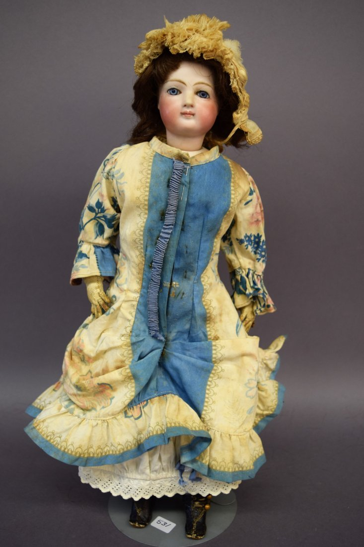 Fine Jumeau Bisque Head Fashion Doll. Closed mouth.
