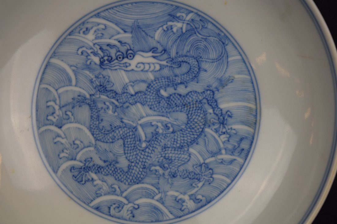 Imperial dragon dish. China. Ch'ien Lung mark and - 2