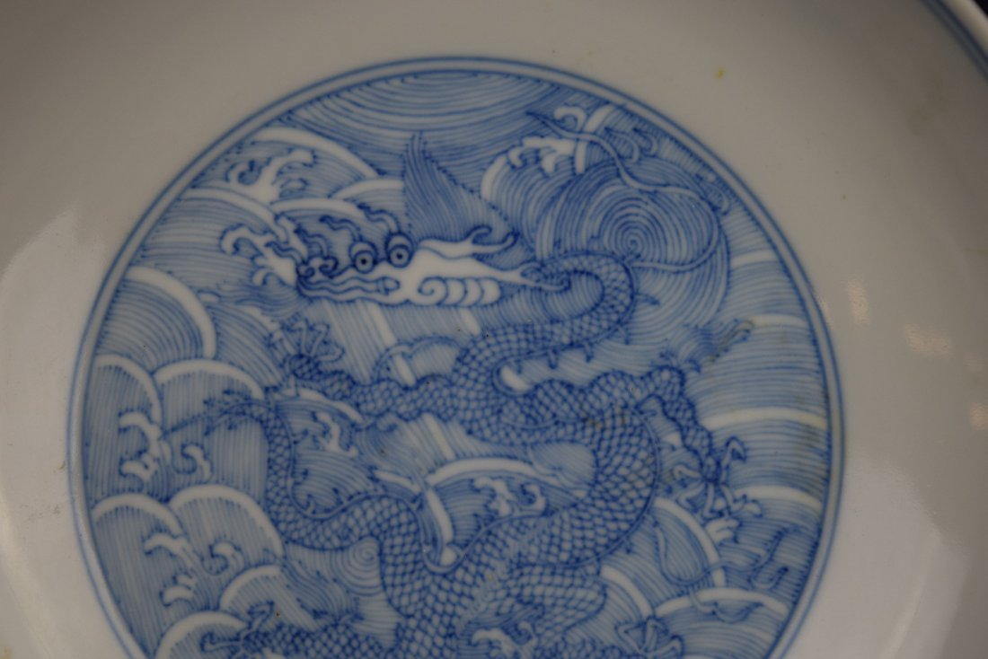 Imperial dragon dish. China. Ch'ien Lung mark and - 3