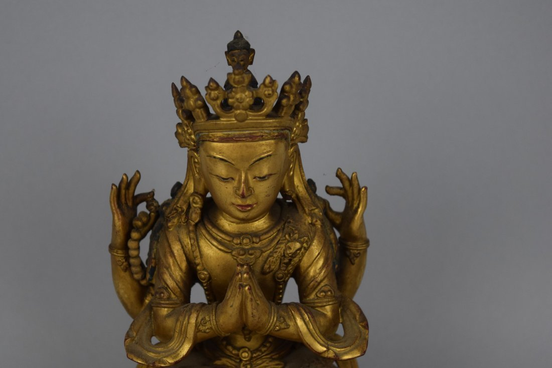 Carved wooden Buddha. China. Ch'ien Lung period - 2