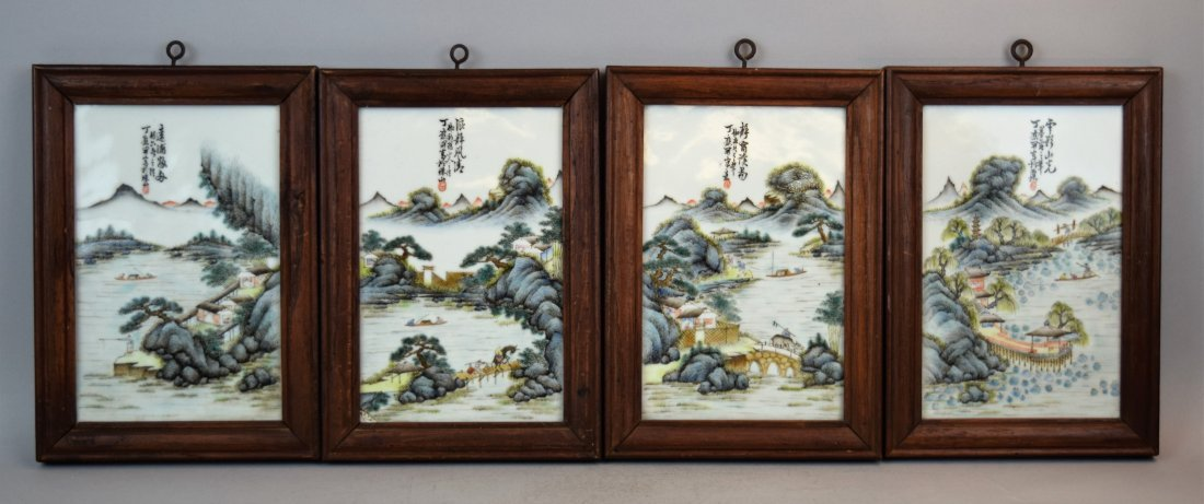 4 porcelain plaques. China. Republican period, circa