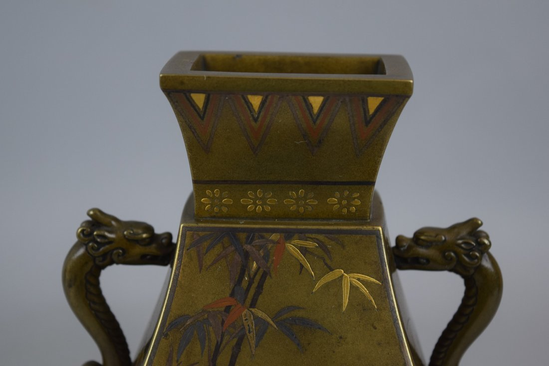 Pair of mixed metal vases. Japan. Meiji period - 2