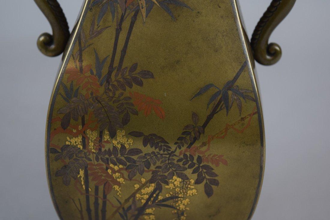 Pair of mixed metal vases. Japan. Meiji period - 3