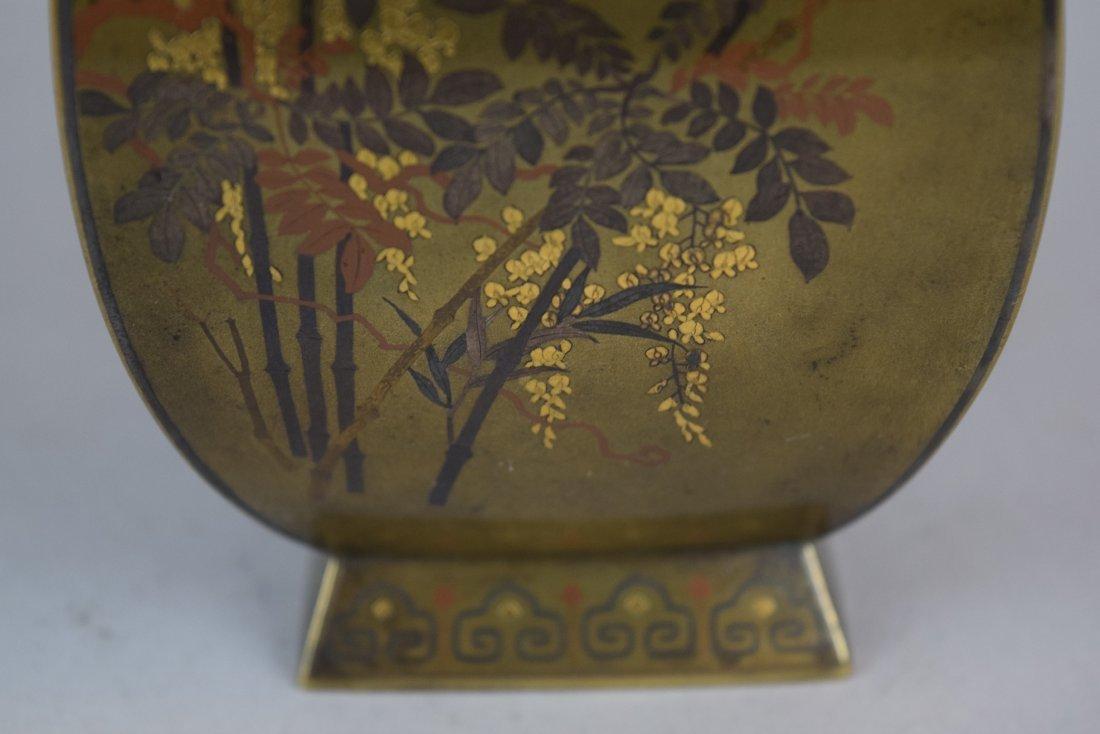 Pair of mixed metal vases. Japan. Meiji period - 4