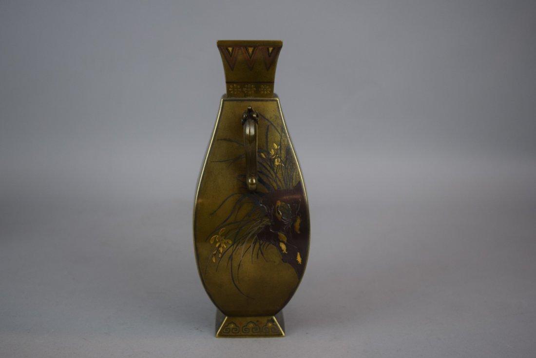 Pair of mixed metal vases. Japan. Meiji period - 6