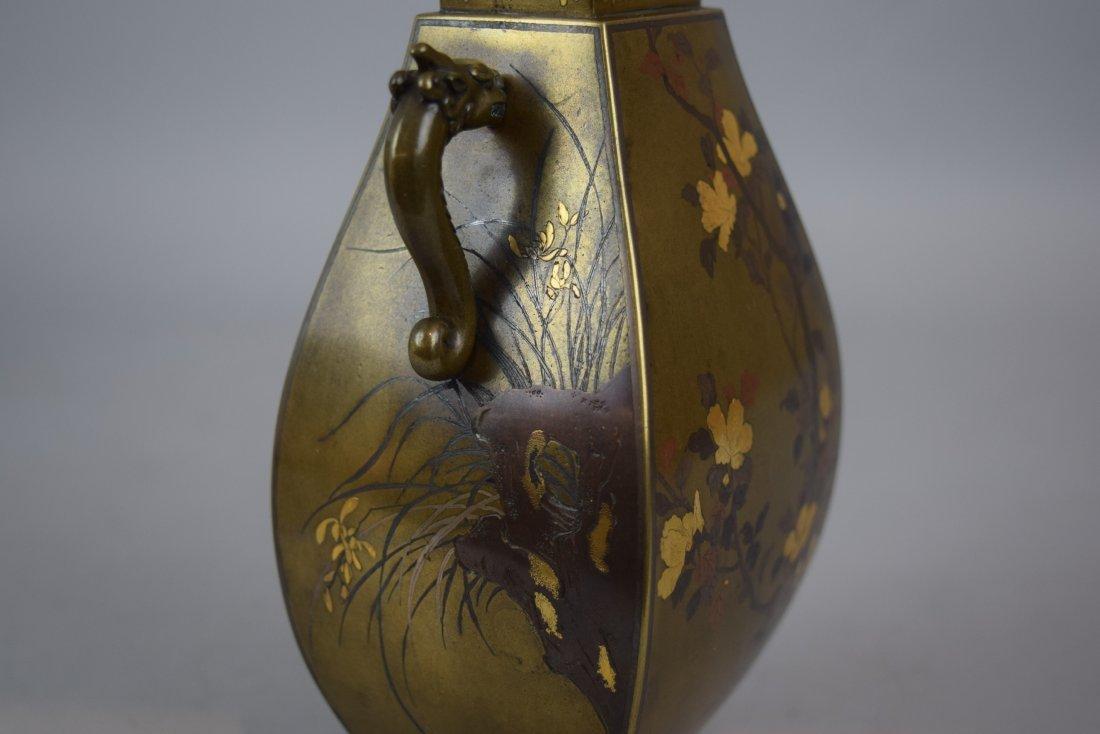 Pair of mixed metal vases. Japan. Meiji period - 7