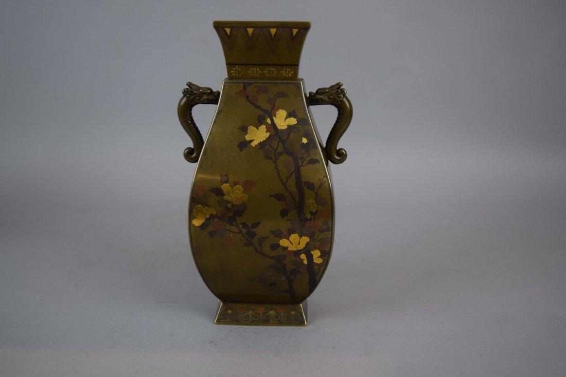 Pair of mixed metal vases. Japan. Meiji period - 8