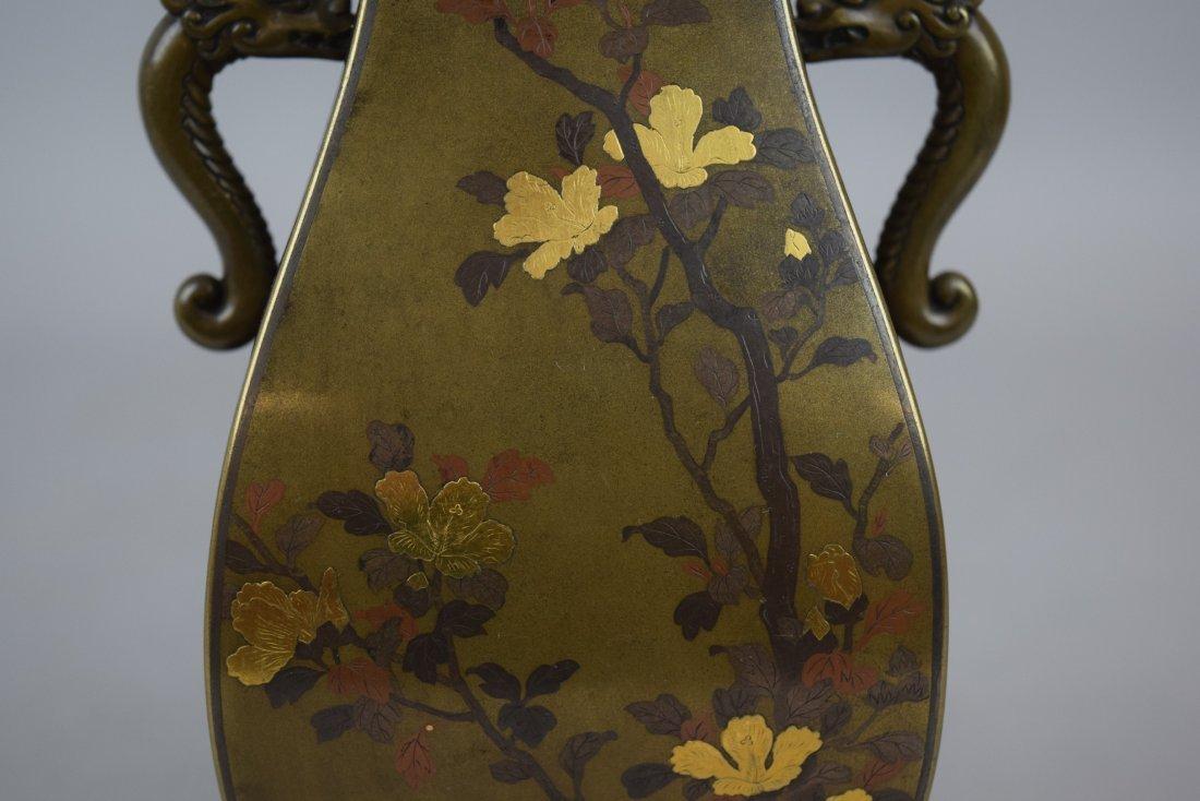 Pair of mixed metal vases. Japan. Meiji period - 9