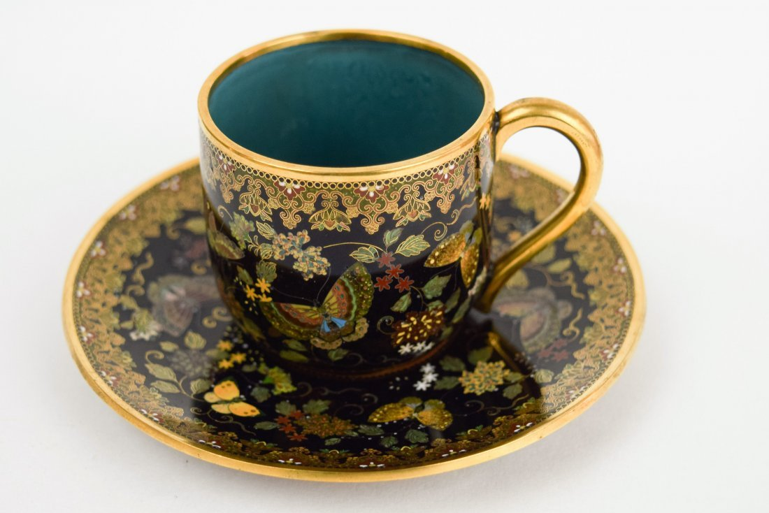 Namikawa cloisonne cup and saucer. Japan. Meiji period.