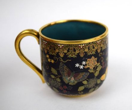 Namikawa cloisonne cup and saucer. Japan. Meiji period. - 4