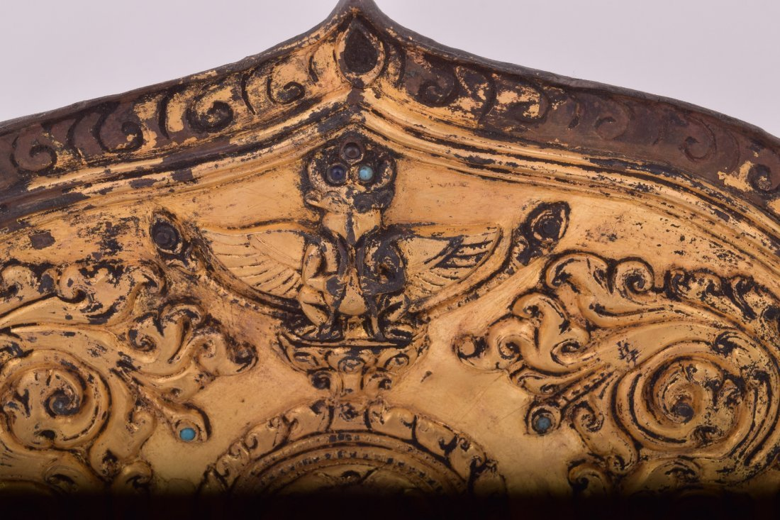 Gilt bronze halo. Nepal. 15th century. Surface - 4