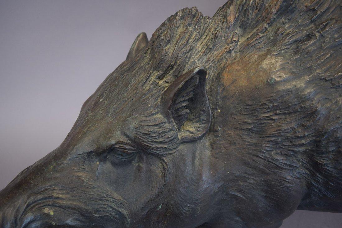 """Bronze boar. Japan. Meiji period. (1868-1912). 36"""" - 3"""