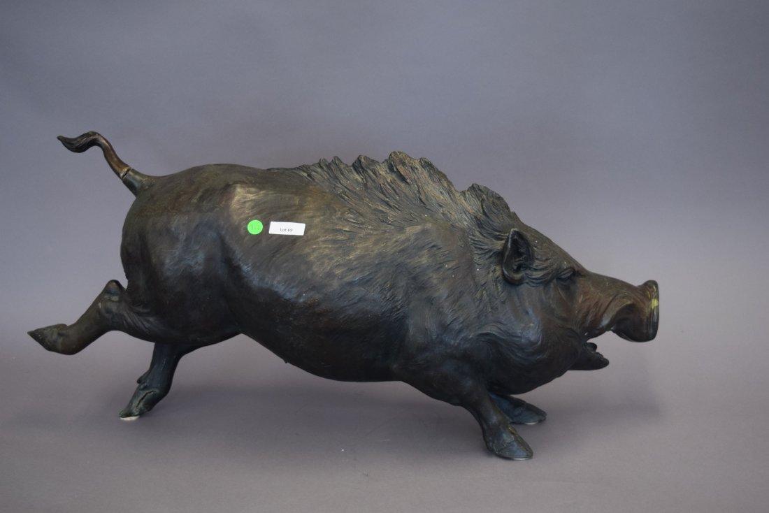"""Bronze boar. Japan. Meiji period. (1868-1912). 36"""" - 9"""