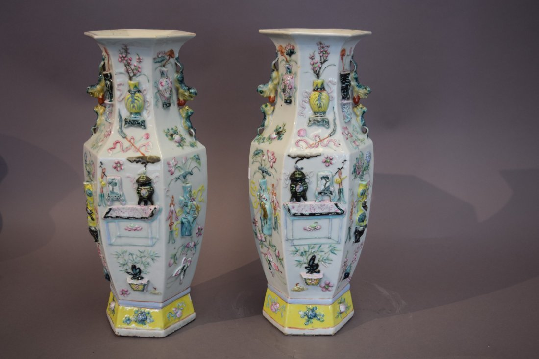 Pair of porcelain vases. China. 19th century. Octagonal - 2