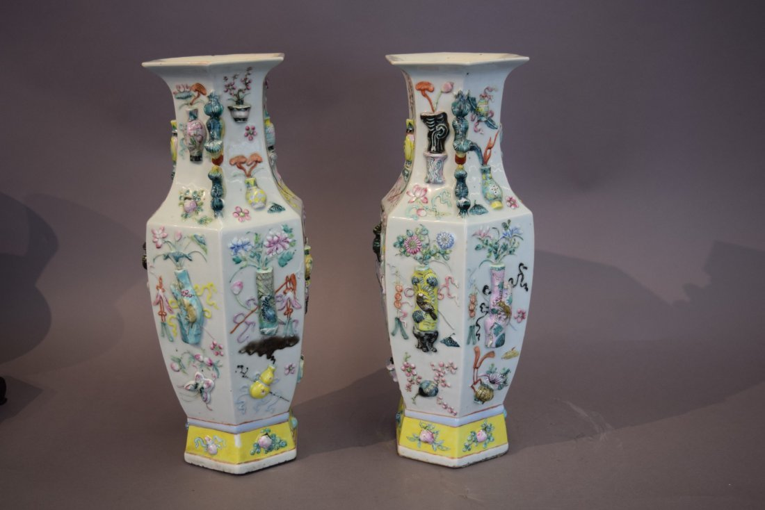 Pair of porcelain vases. China. 19th century. Octagonal - 3
