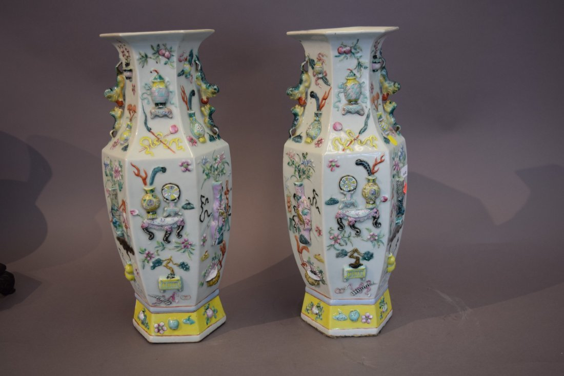 Pair of porcelain vases. China. 19th century. Octagonal - 4