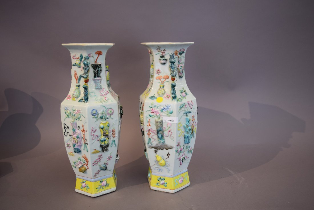 Pair of porcelain vases. China. 19th century. Octagonal - 5