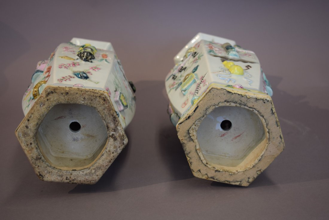 Pair of porcelain vases. China. 19th century. Octagonal - 6