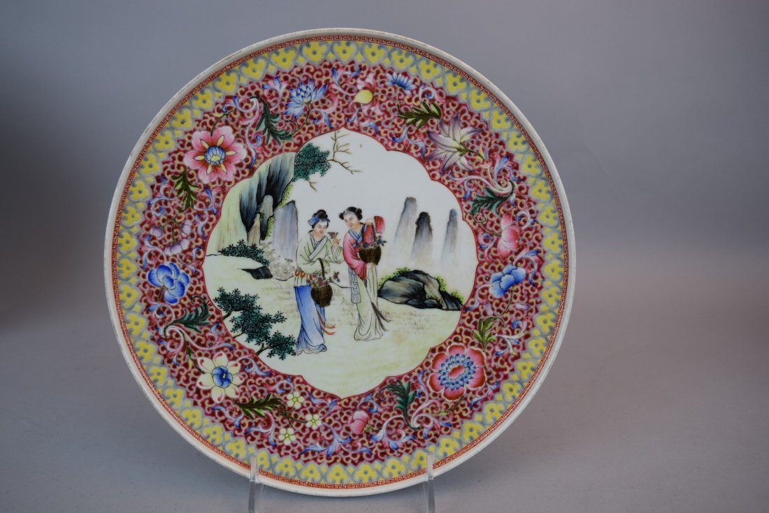 Pair of porcelain plates. China. Dated 1959. Famille - 2