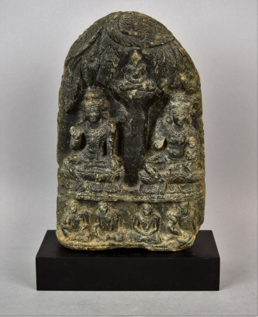 Gandharan sculpture. Grey shist. 1c BC -2nd AD. Scene