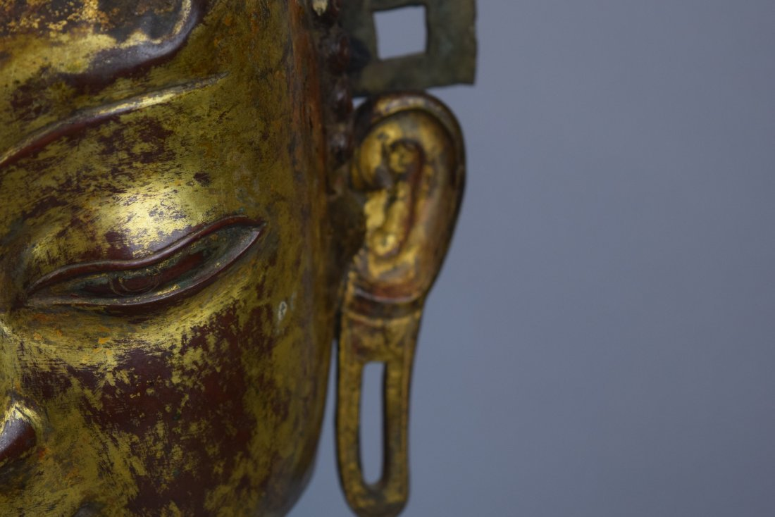 Repousse copper head of the Buddha. Tibet. 18th cent. - 10