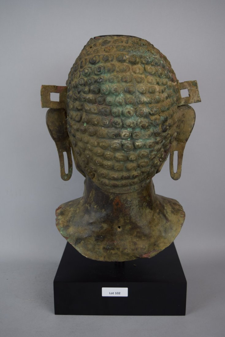 Repousse copper head of the Buddha. Tibet. 18th cent. - 4