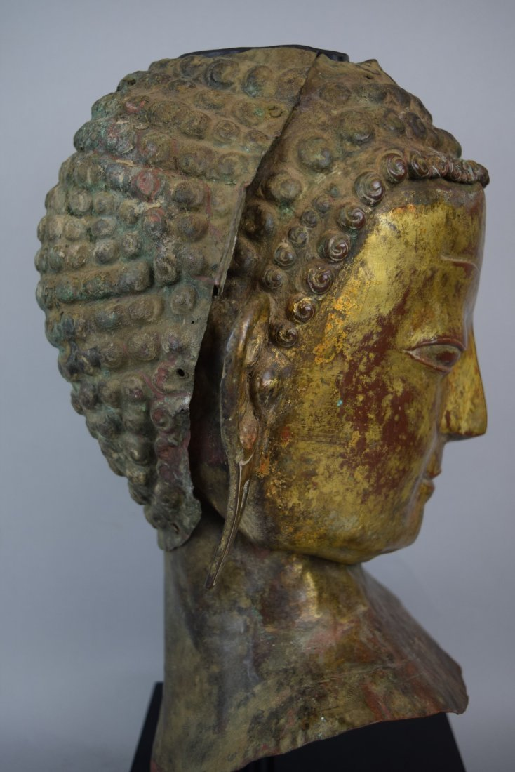 Repousse copper head of the Buddha. Tibet. 18th cent. - 6