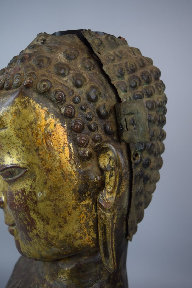 Repousse copper head of the Buddha. Tibet. 18th cent. - 7