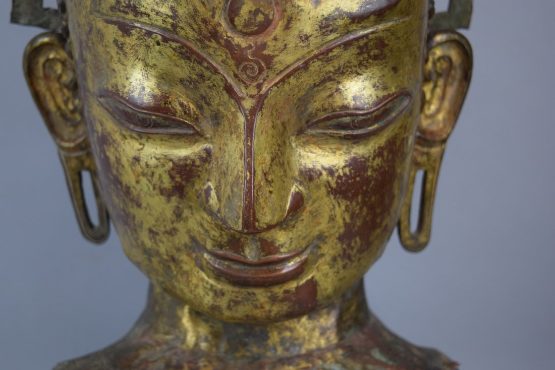 Repousse copper head of the Buddha. Tibet. 18th cent. - 9