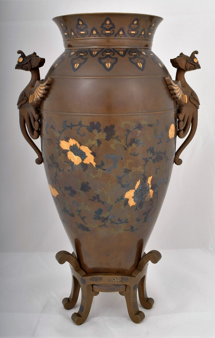 Mixed metal vase and stand. Japan. Meiji period