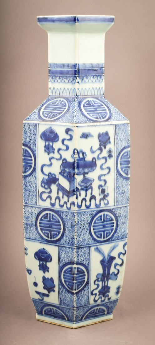 Porcelain vase. China. 20th century. Hexagonal form.