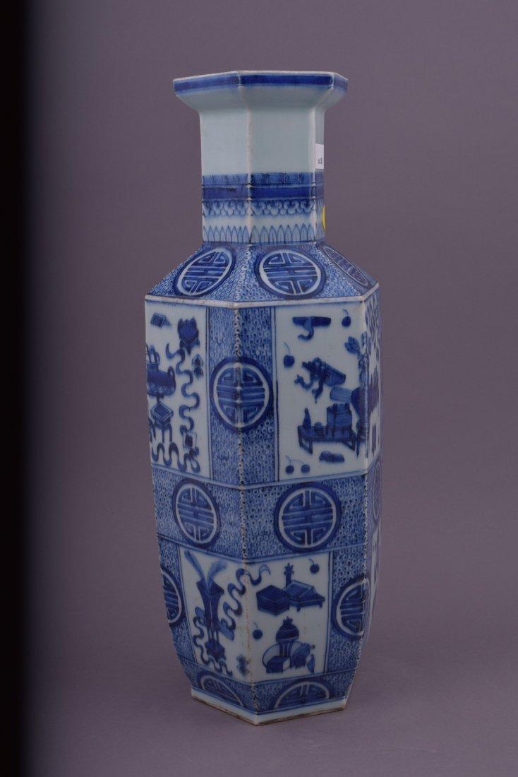 Porcelain vase. China. 20th century. Hexagonal form. - 2