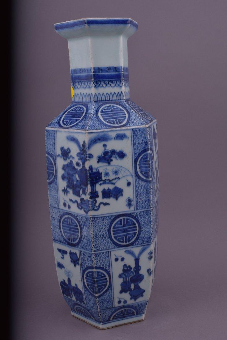 Porcelain vase. China. 20th century. Hexagonal form. - 4