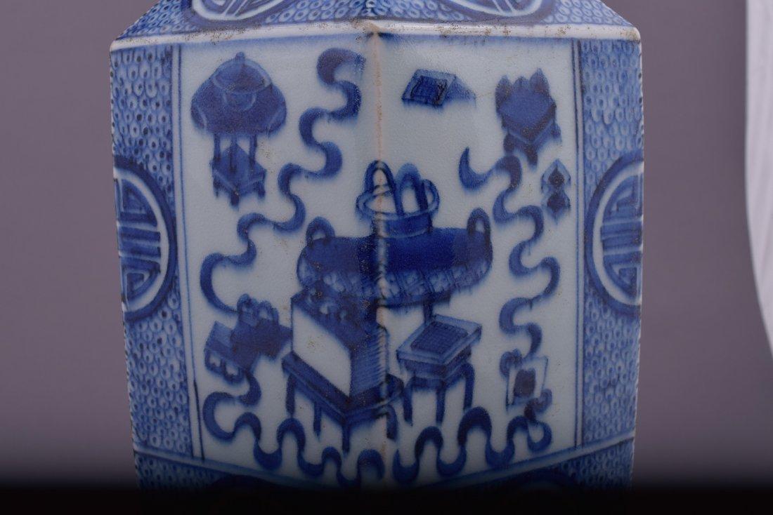 Porcelain vase. China. 20th century. Hexagonal form. - 6