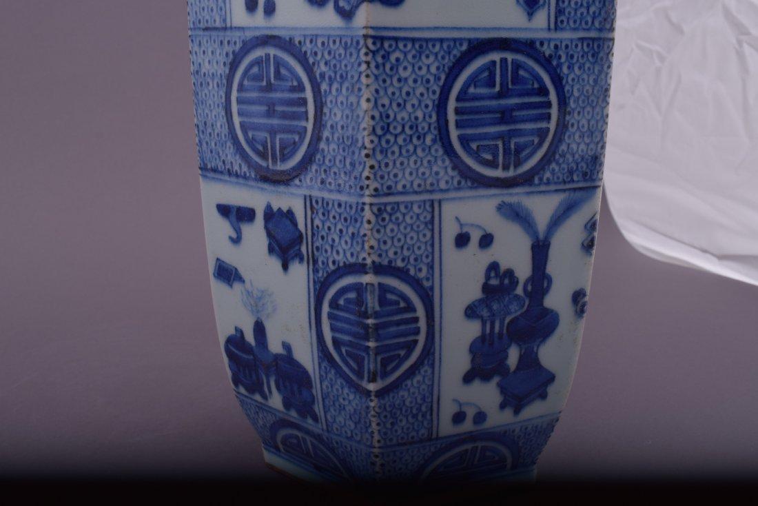 Porcelain vase. China. 20th century. Hexagonal form. - 7