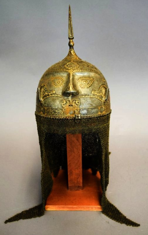 Helmet. Persia. 19th cent. Steel. Kulakhud with demon