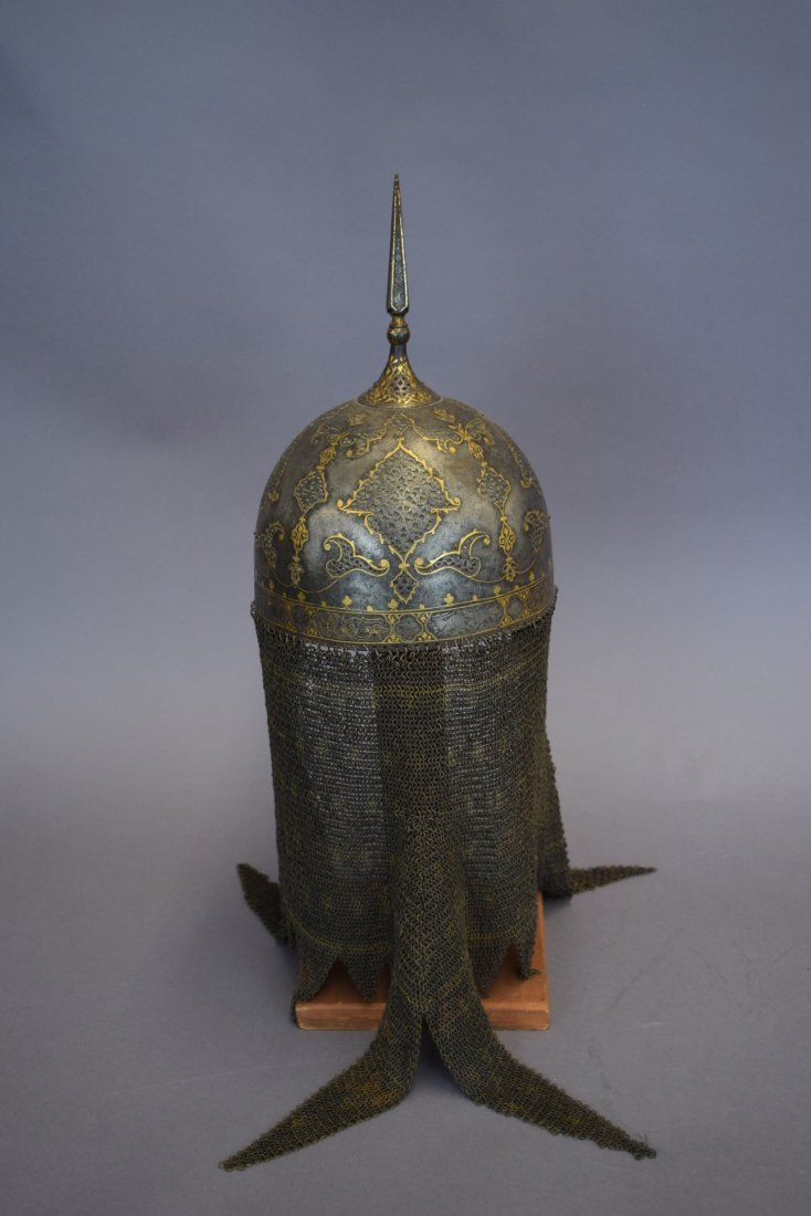 Helmet. Persia. 19th cent. Steel. Kulakhud with demon - 3