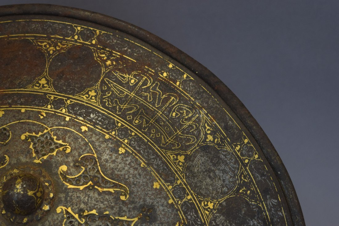 Shield. Persia. 19th century. Steel with gold inlay of - 3