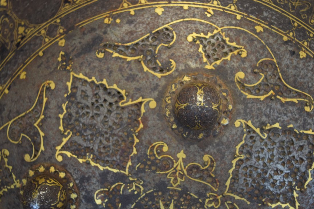 Shield. Persia. 19th century. Steel with gold inlay of - 5
