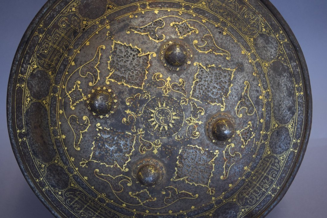 Shield. Persia. 19th century. Steel with gold inlay of - 8