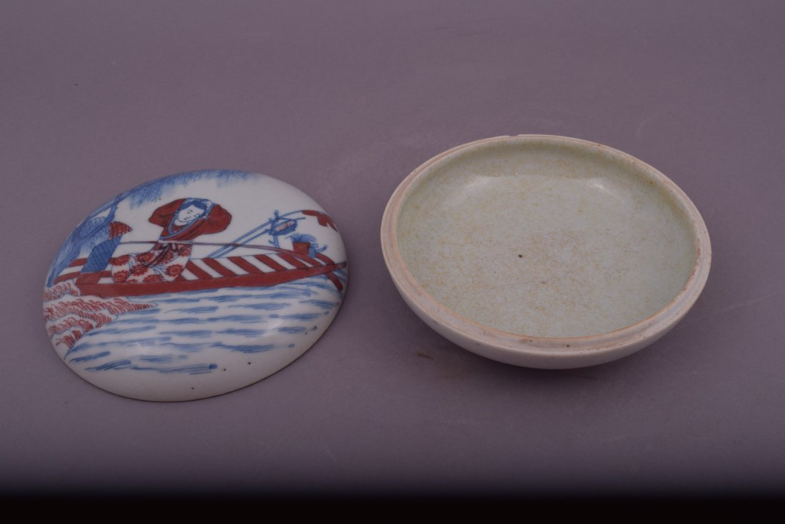 Seal paste box. China. 19th century. Underglaze blue - 2