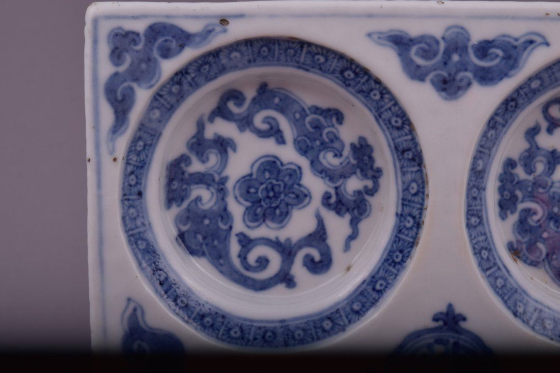 Porcelain dish. Korea. 18th cent. Square form with - 2