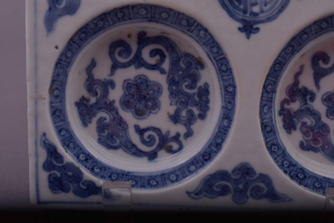 Porcelain dish. Korea. 18th cent. Square form with - 5
